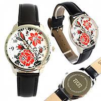 Наручные часы Ziz Вышиванка цветы на черном ремешке