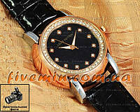 Женские наручные часы Louis Vuitton Quartz Silver Gold Black Dimond качественная копия
