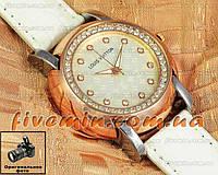 Женские наручные часы Louis Vuitton Quartz Silver Gold White Dimond качественная копия