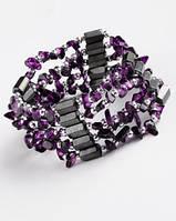 Украшение унисекс на шею-браслет из гематита с  аметистом от Студии  www.LadyStyle.Biz