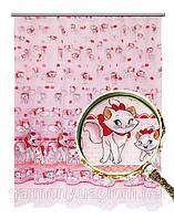 Тюль Котята (розовый)