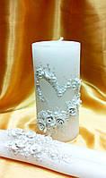 """Свадебные свечи """"Белое сердце"""""""