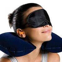 Комплект 3 в 1 для крепкого сна: Надувной подголовник, беруши и маска для сна по оптовой цене!