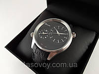 Часы мужские Guardo - Italy, цвет серебро, черный кожаный ремешок.