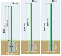 Столб хк+ПВХ в бетон 50х50х2.0мм