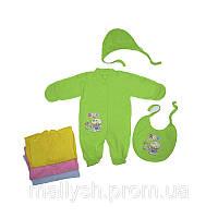 Комплект для новорожденного человечек, шапочка,слюнявчик