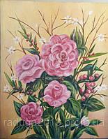 Картина маслом на холсте Цветы Фантазия. Оригинальный подарок на 8 марта девушке
