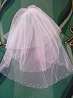 """Свадебная фата-""""американка-3"""" с жемчугом"""
