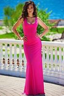 Летнее платье в пол из трикотажа малинового цвета
