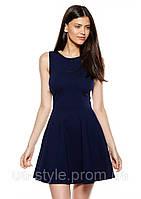 Платье с юбкой клеш синего цвета из плательно костюмной ткани