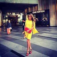 Платье мини желтое с широким рукавом разрезанным по внутреннему шву из натурального штапеля