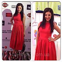 Платье красное с клешеной юбкой в ретро стиле