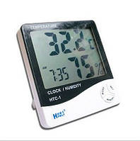 Гигрометр - термометр - часы будильник с выносным датчиком HTC-1