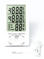 Портативная метеостанция гигрометр - термометр - часы будильник с выносным датчиком TA-298