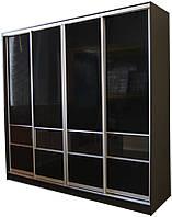 Шкаф-купе для гостинной №1 с комбинированным фасадом МДФ волна глянец + прозрачное стекло
