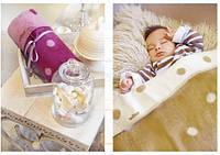 Одеяло детское двухстороннее в горошек Womar  75х100 см 100%  хлопок