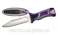 Нож для подводной охоты с серейтором и стропорезом.