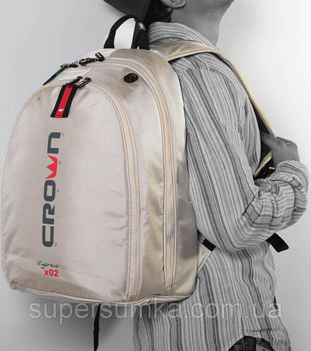 "Рюкзак для ноутбука 15,6"", класса де-люкс Crown Vigorous Series, BPV-215W кремовый"