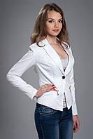 Пиджак женский белый на подкладке с длинным рукавом. Код модели Ж-18-20-14