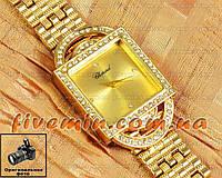 Женские наручные часы Chopard Quartz Steel All Gold Dimond fashion с камнями кварцеве Япония качество