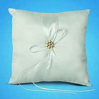 Подушечка для обручальных колец с белой лентой