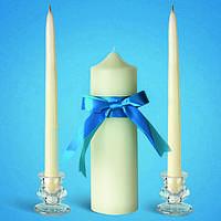 """Свадебные свечи """"Семейный очаг"""" белые с голубой лентой"""