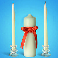 """Свадебные свечи """"Семейный очаг"""" белые с медной лентой"""