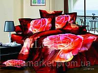 Постельное белье - Яркие Розы - Сатин фотопринт 3D - размер Евро фирмы Вилюта