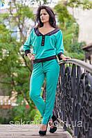 Комплект кофта+штаны №713 ВЕСЬ бирюзовый (ГЛ), фото 1