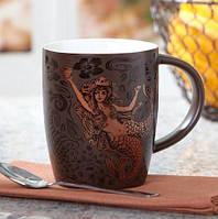 Акция! Керамическая чашка шоколадного цвета с золотым принтом Starbucks