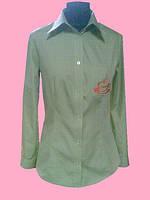 Женская блузка на длинный рукав салатового цвета