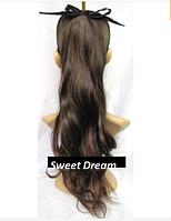 Длинный волнистый хвост из искусственных волос на ленте, аксессуар для волос, наращивание волос, цвет - шатен