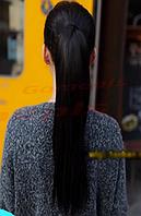 Женский симпатичный длинный прямой хвост из искусственных волос, цвет - черный