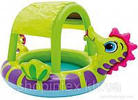 Intex 57110 Детский надувной бассейн Морской конек с навесом крышей (188х147х104 см)