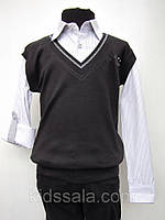 Обманка-рубашка на мальчиков школьная Черный жилет