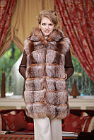 Шуба жилет из золоченой чернобурки и дублен.меха Тоскана Discolored silver fox and goat skin fur coat and vest