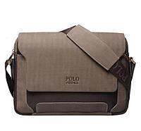Мужская кожаная сумка Polo.  Мужской деловой портфель. Мужская сумка через плечо. Портфель для документов.