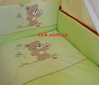 """Комплект детской постели с вышивкой """"ASIK"""" в кроватку, цвет салатовый."""