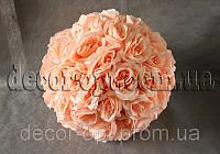 Шар из головок розовой розы 36 см