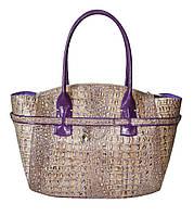 Женская сумка кожаная бежево-сереневая