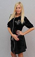 Женское велюровое платье черное, фото 1