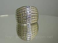 Широкое кольцо с цирконием, серебро 925 пробы