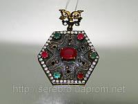 Кулон из черного серебра с рубином, изумрудом и циркониями