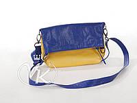 Маленькая сумка из натуральной кожи, двухцветная