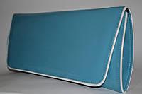 Голубой лаковый клатч с белой окантовкой