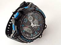 Часы мужские G-Shock - black, синие с черным , матовые
