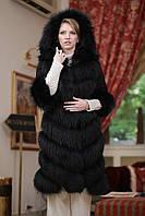 Шуба меховое пальто жилет из черного енота (перфорация) Black-dyed raccoon fur coat