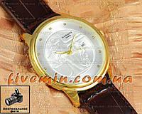 Наручные часы Hermes Paris Calendar Gold White унисекс кварцевые с календарем качественная копия