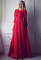 Длинное красное платье с бантом