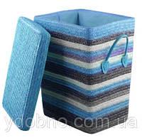 Корзина для белья с крышкой, голубая. Высота: 45 см